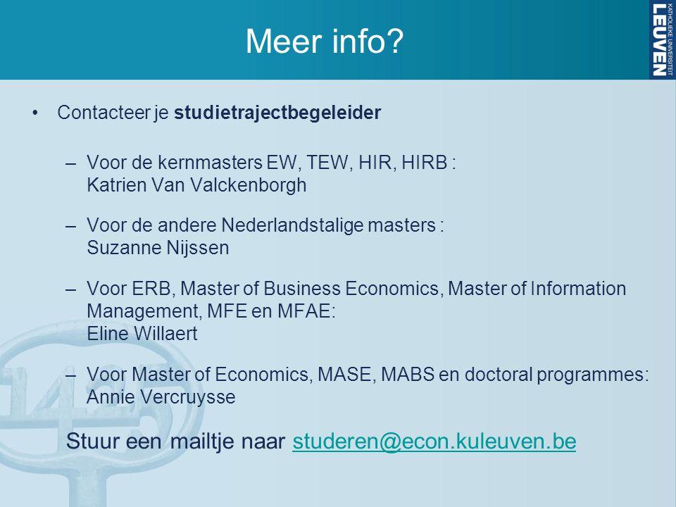 Meer info? Contacteer je studietrajectbegeleider –Voor de kernmasters EW, TEW, HIR, HIRB : Katrien Van Valckenborgh –Voor de andere Nederlandstalige m
