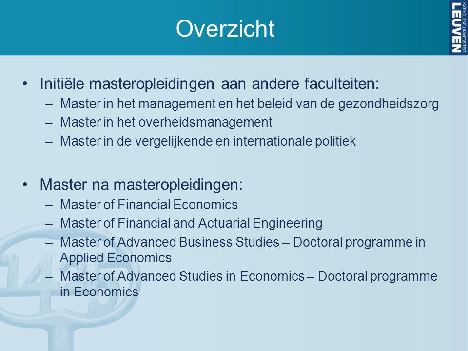 Overzicht Initiële masteropleidingen aan andere faculteiten: –Master in het management en het beleid van de gezondheidszorg –Master in het overheidsma
