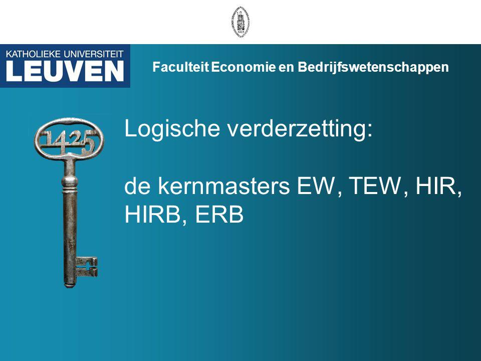 Logische verderzetting: de kernmasters EW, TEW, HIR, HIRB, ERB Faculteit Economie en Bedrijfswetenschappen