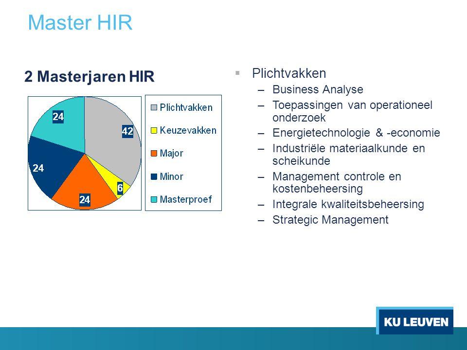 Master HIR 2 Masterjaren HIR  Plichtvakken –Business Analyse –Toepassingen van operationeel onderzoek –Energietechnologie & -economie –Industriële ma