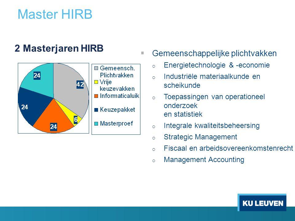 Master HIRB  Gemeenschappelijke plichtvakken o Energietechnologie & -economie o Industriële materiaalkunde en scheikunde o Toepassingen van operation