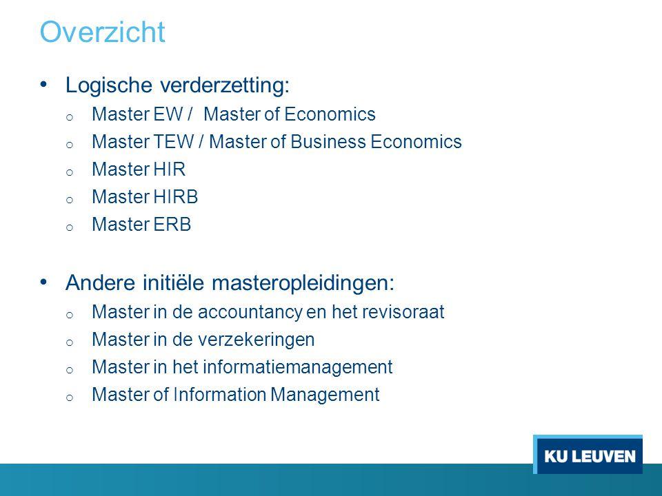 Overzicht Logische verderzetting: o Master EW / Master of Economics o Master TEW / Master of Business Economics o Master HIR o Master HIRB o Master ER