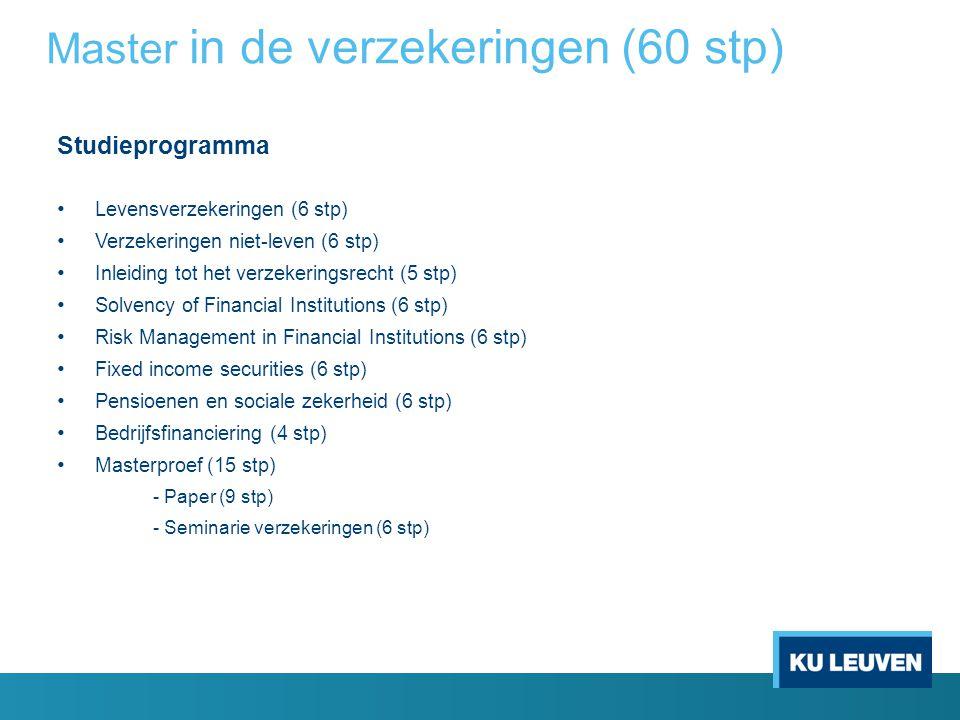 Studieprogramma Levensverzekeringen (6 stp) Verzekeringen niet-leven (6 stp) Inleiding tot het verzekeringsrecht (5 stp) Solvency of Financial Institu