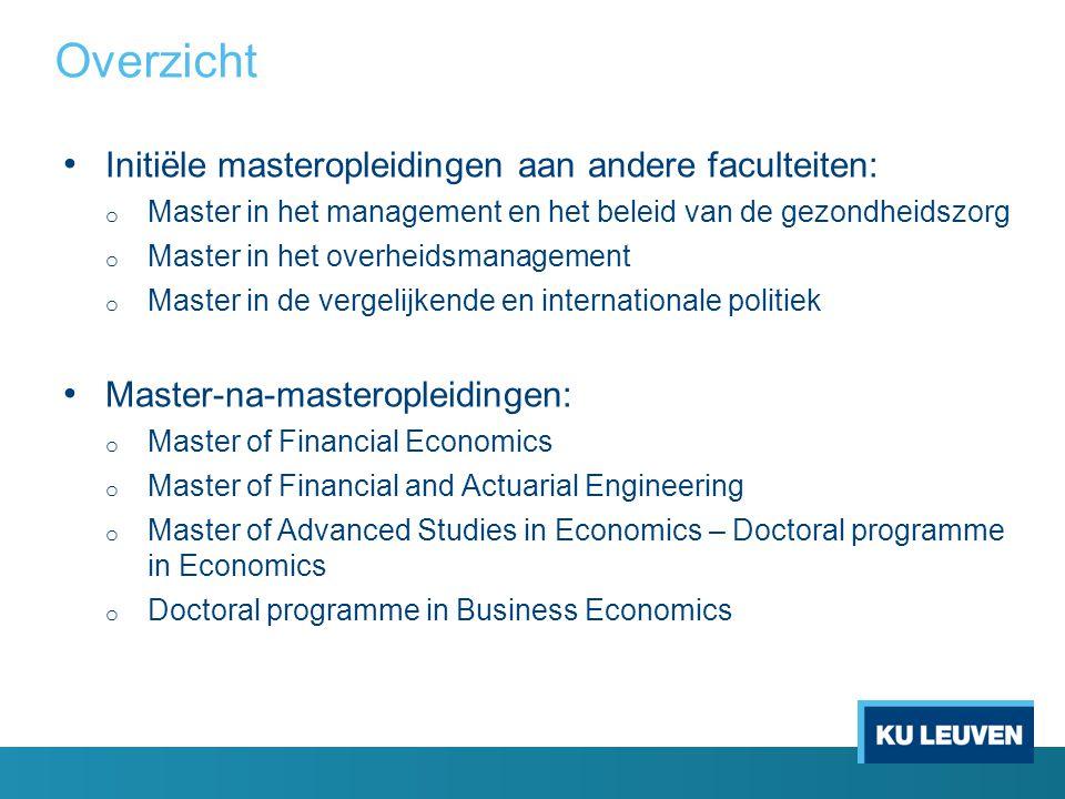 Overzicht Initiële masteropleidingen aan andere faculteiten: o Master in het management en het beleid van de gezondheidszorg o Master in het overheids