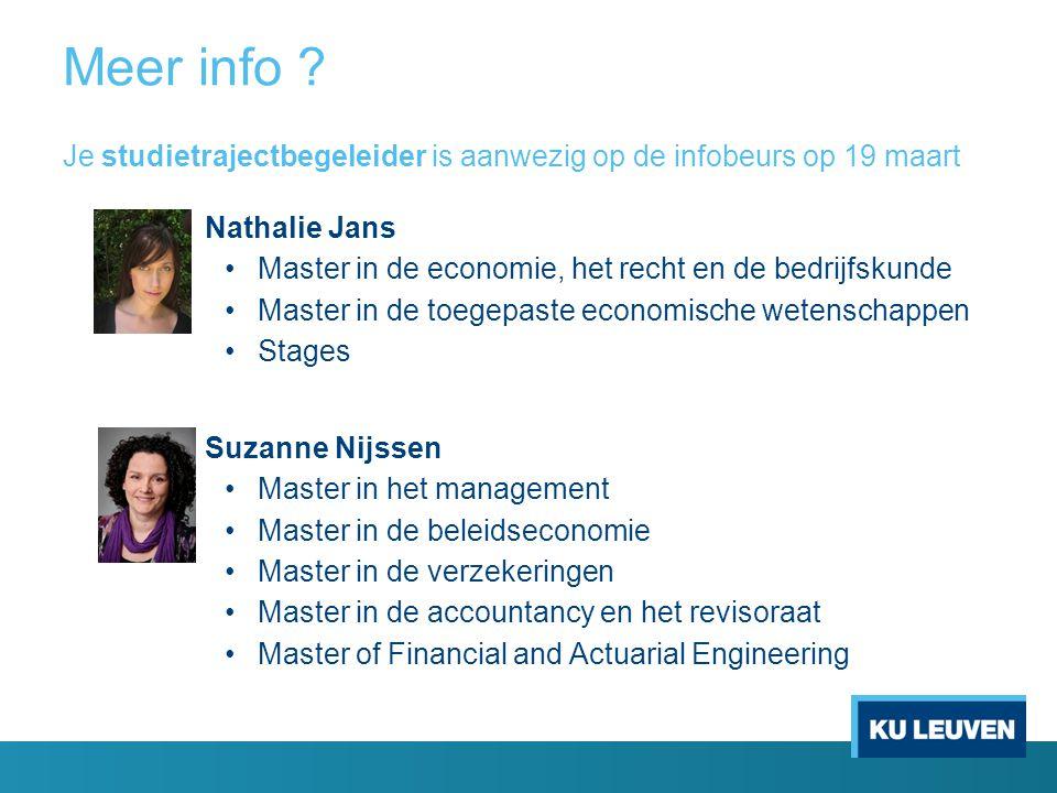 Meer info ? Nathalie Jans Master in de economie, het recht en de bedrijfskunde Master in de toegepaste economische wetenschappen Stages Suzanne Nijsse