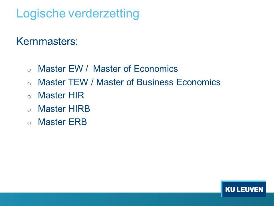 Logische verderzetting Kernmasters: o Master EW / Master of Economics o Master TEW / Master of Business Economics o Master HIR o Master HIRB o Master