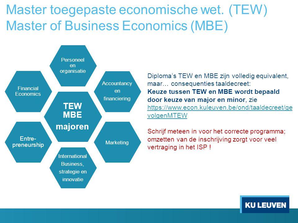 Master toegepaste economische wet. (TEW) Master of Business Economics (MBE) TEW MBE majoren Personeel en organisatie Accountancy en financiering Marke