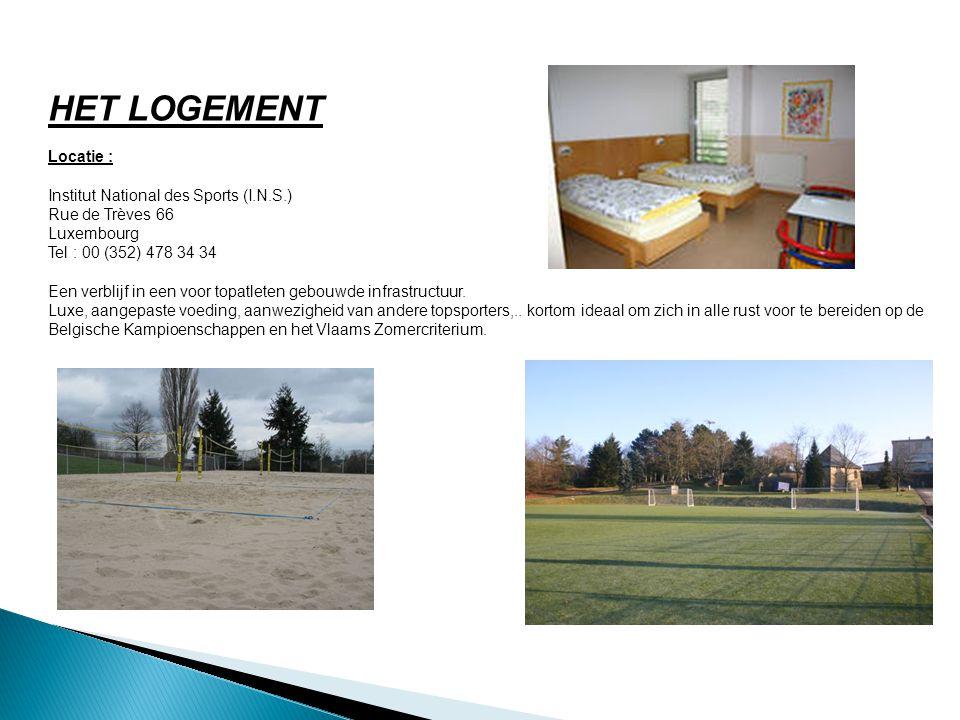HET LOGEMENT Locatie : Institut National des Sports (I.N.S.) Rue de Trèves 66 Luxembourg Tel : 00 (352) 478 34 34 Een verblijf in een voor topatleten