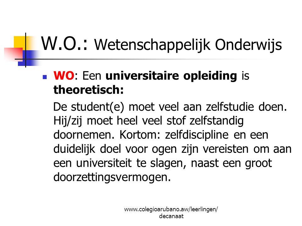 Belangrijke websites www.duo.nl www.ea.aw www.studielink.nl www.studiekeuze123.nl www.studierichting.startpagina.nl www.colegioarubano.aw/leerlingen/decanaat