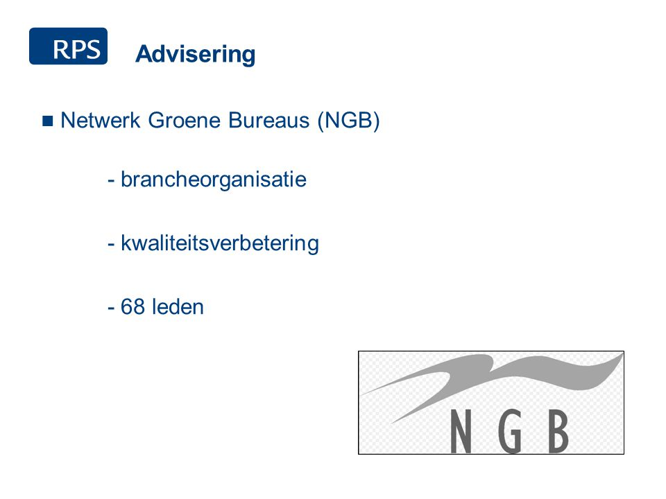 Advisering Netwerk Groene Bureaus (NGB) - brancheorganisatie - kwaliteitsverbetering - 68 leden