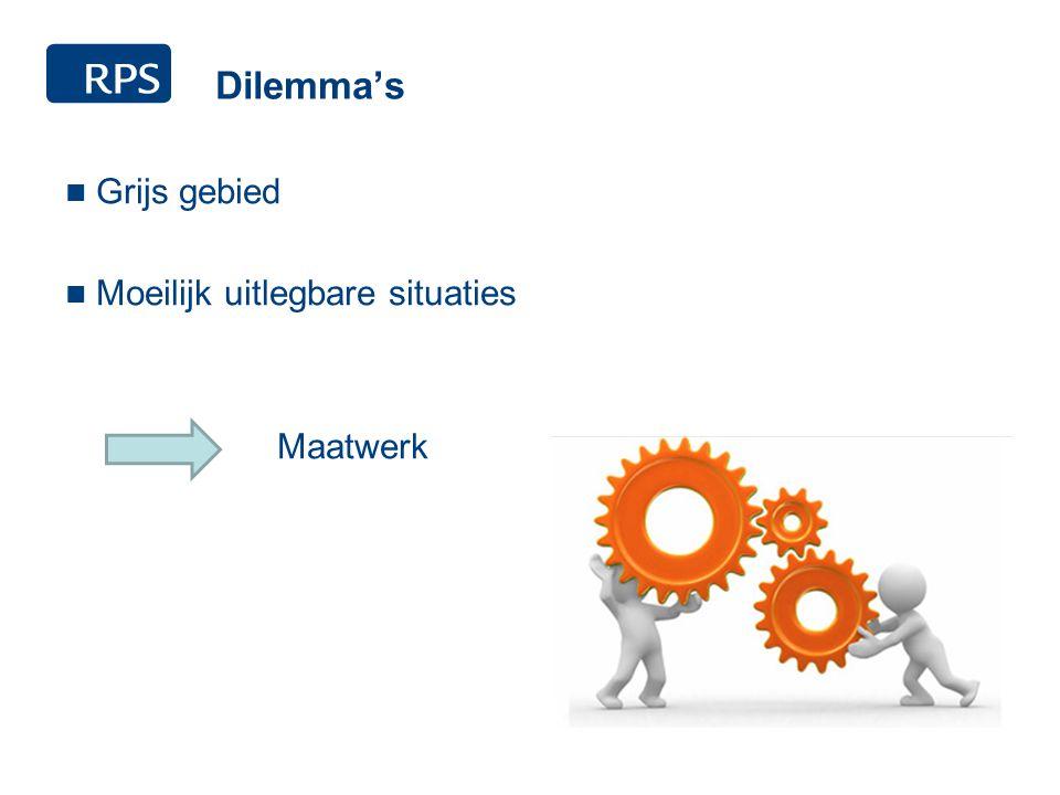 Dilemma's Grijs gebied Moeilijk uitlegbare situaties Maatwerk