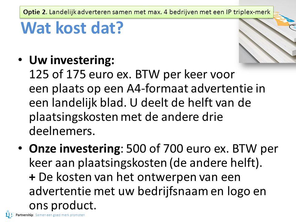 Wat kost dat? Uw investering: 125 of 175 euro ex. BTW per keer voor een plaats op een A4-formaat advertentie in een landelijk blad. U deelt de helft v