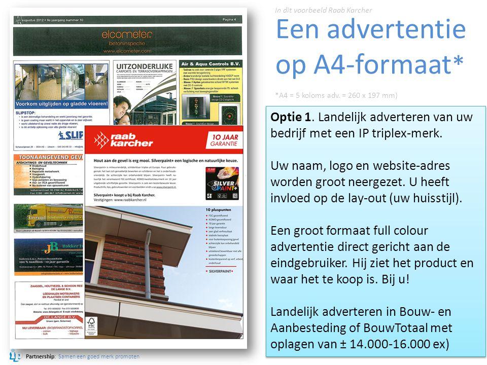 Partnership: Samen een goed merk promoten Een advertentie op A4-formaat * Optie 1. Landelijk adverteren van uw bedrijf met een IP triplex-merk. Uw naa