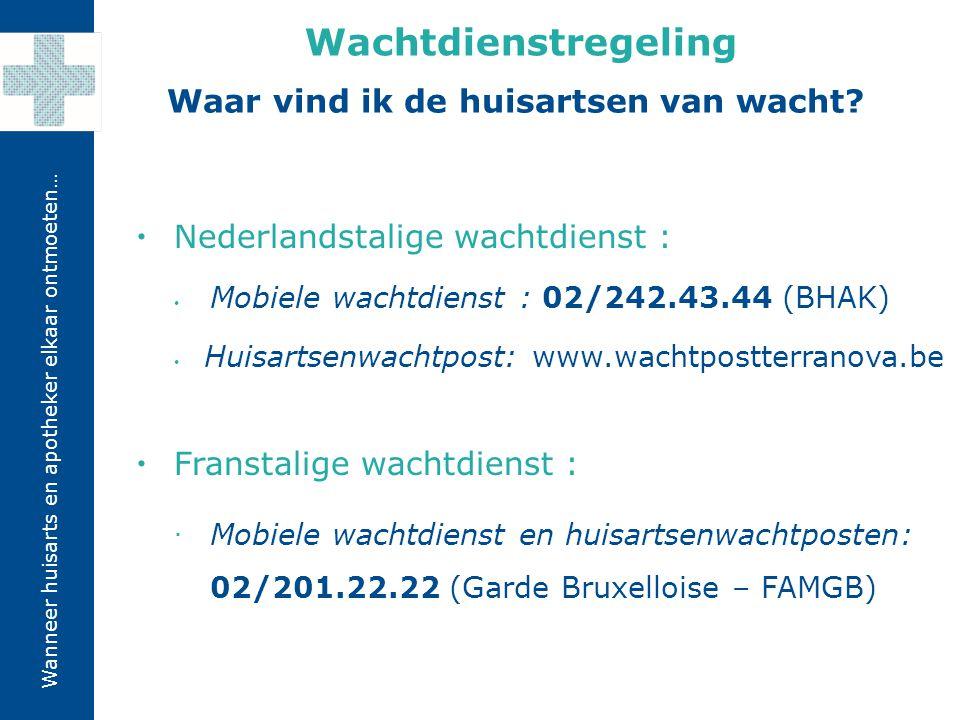 Wanneer huisarts en apotheker elkaar ontmoeten…  Nederlandstalige wachtdienst : Mobiele wachtdienst : 02/242.43.44 (BHAK) Huisartsenwachtpost: www.wa