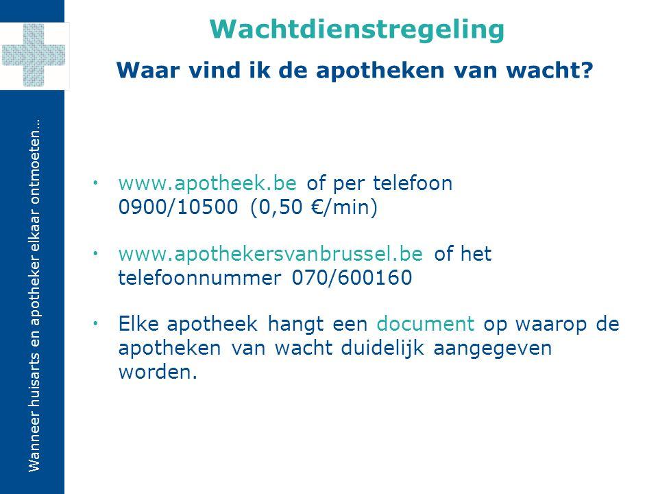 Wanneer huisarts en apotheker elkaar ontmoeten…  www.apotheek.be of per telefoon 0900/10500 (0,50 €/min)  www.apothekersvanbrussel.be of het telefoo