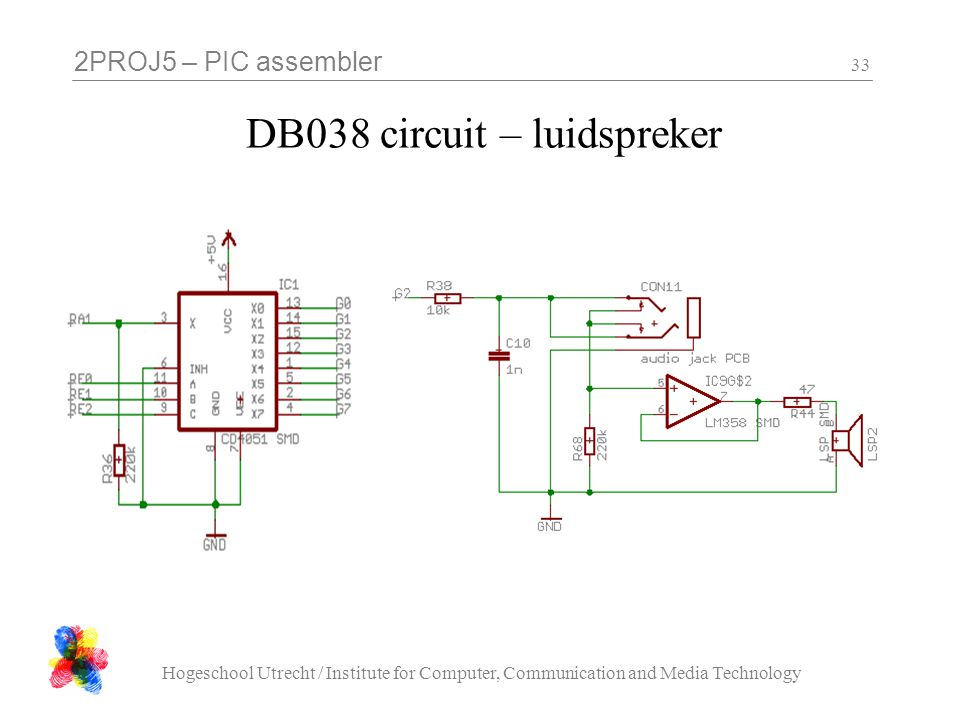 2PROJ5 – PIC assembler Hogeschool Utrecht / Institute for Computer, Communication and Media Technology 33 DB038 circuit – luidspreker
