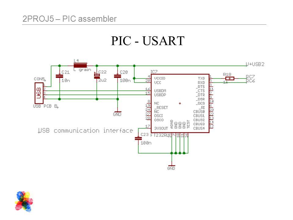 2PROJ5 – PIC assembler PIC - USART
