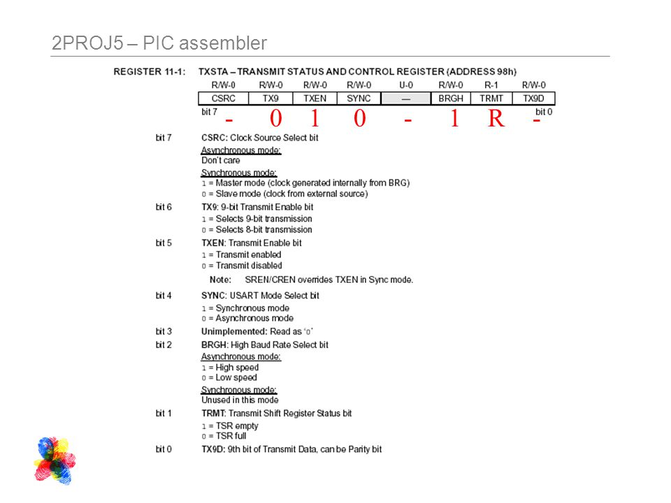 2PROJ5 – PIC assembler 100-1--R