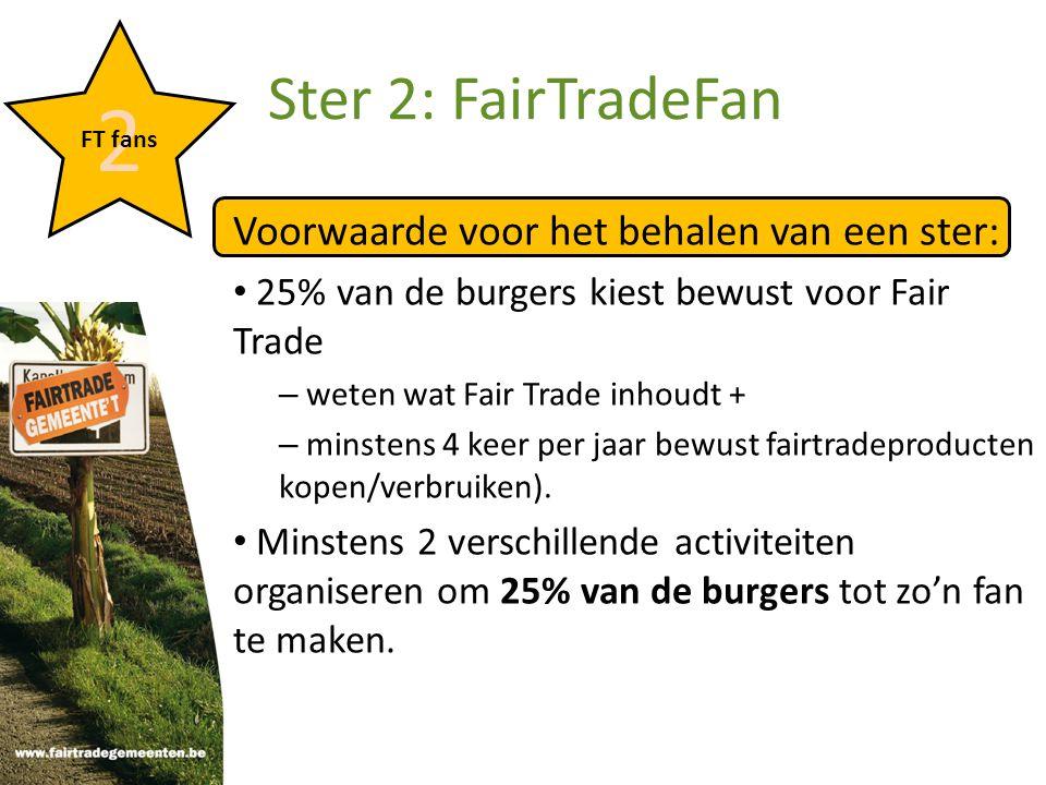 Voorwaarde voor het behalen van een ster: 25% van de burgers kiest bewust voor Fair Trade – weten wat Fair Trade inhoudt + – minstens 4 keer per jaar bewust fairtradeproducten kopen/verbruiken).