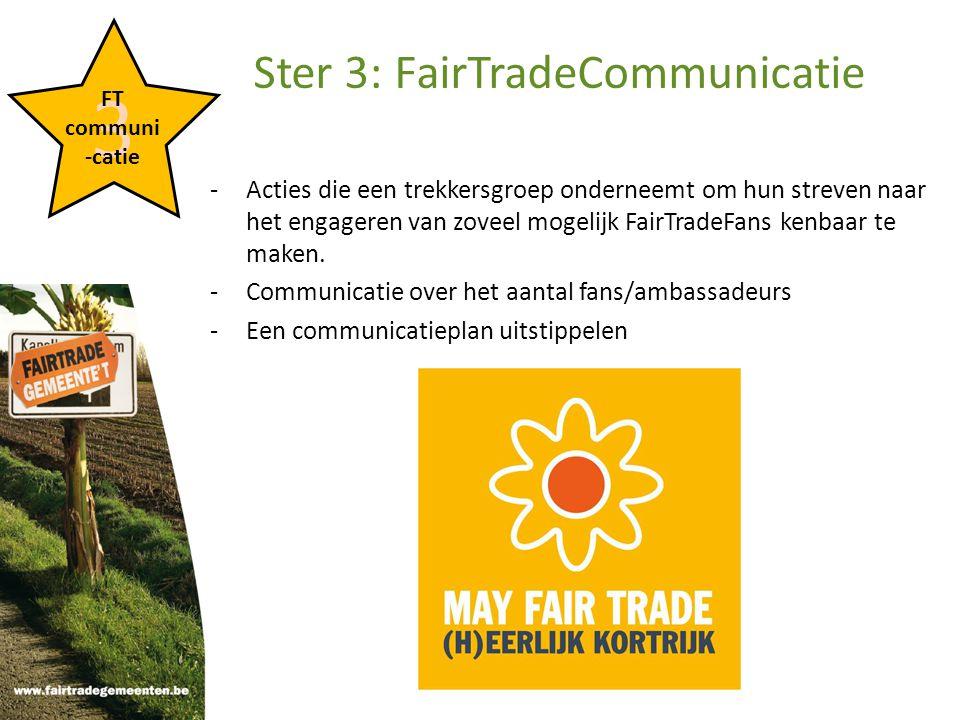 -Acties die een trekkersgroep onderneemt om hun streven naar het engageren van zoveel mogelijk FairTradeFans kenbaar te maken.