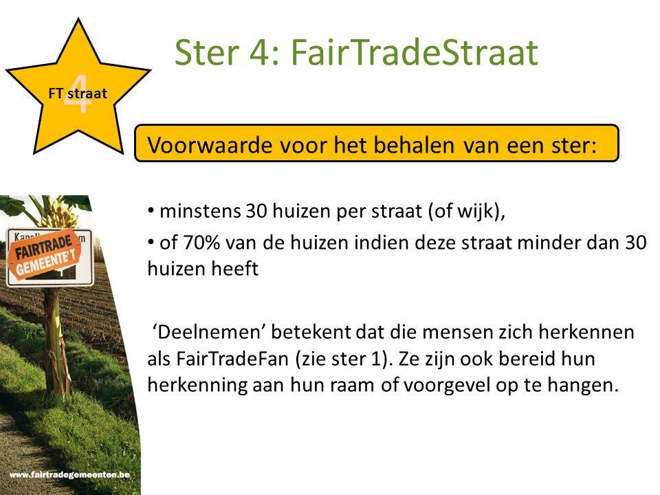 Voorwaarde voor het behalen van een ster: minstens 30 huizen per straat (of wijk), of 70% van de huizen indien deze straat minder dan 30 huizen heeft 'Deelnemen' betekent dat die mensen zich herkennen als FairTradeFan (zie ster 1).