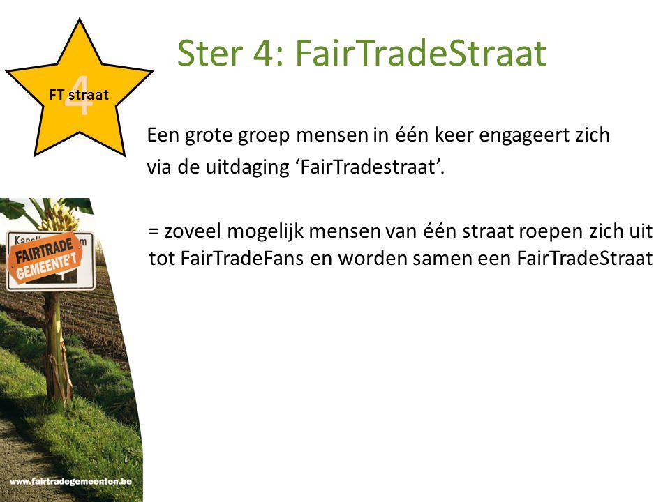 Een grote groep mensen in één keer engageert zich via de uitdaging 'FairTradestraat'.