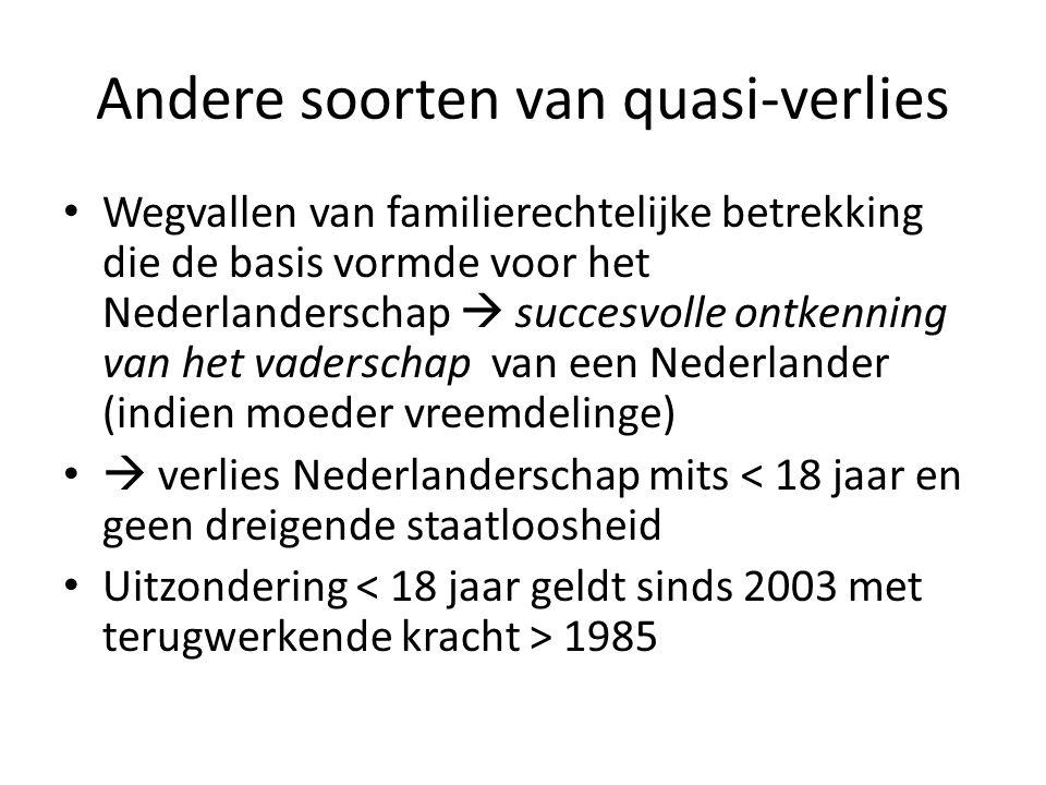 Andere soorten van quasi-verlies Wegvallen van familierechtelijke betrekking die de basis vormde voor het Nederlanderschap  succesvolle ontkenning va