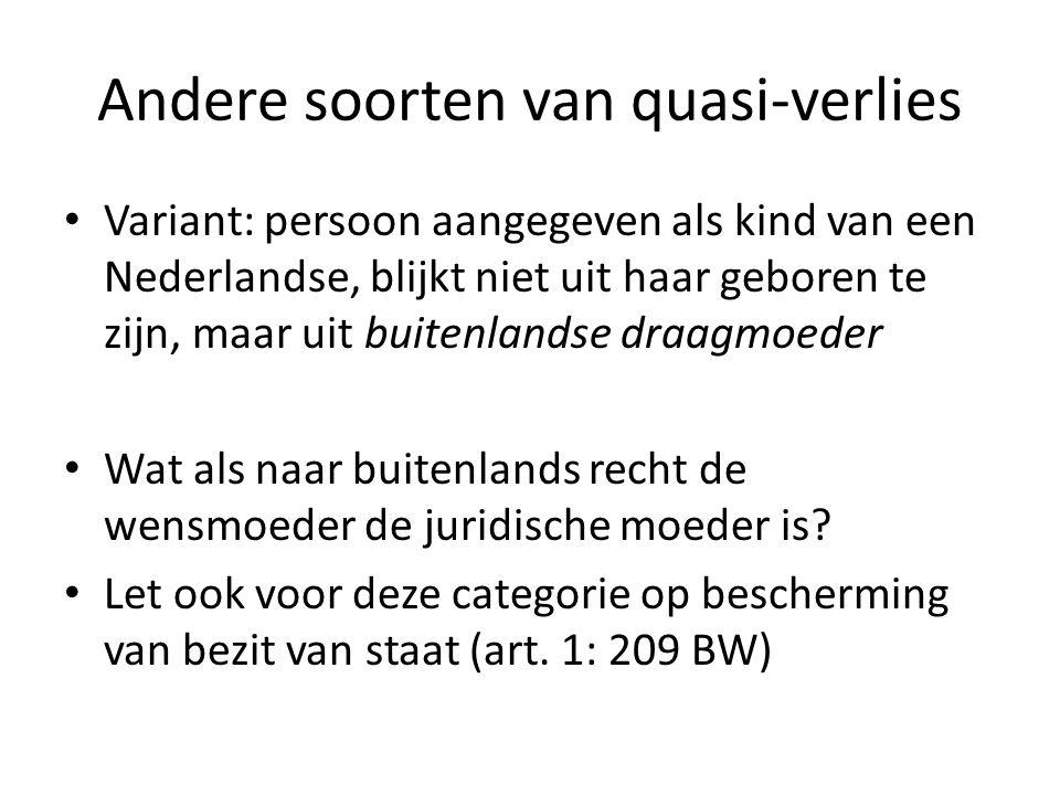 Andere soorten van quasi-verlies Variant: persoon aangegeven als kind van een Nederlandse, blijkt niet uit haar geboren te zijn, maar uit buitenlandse
