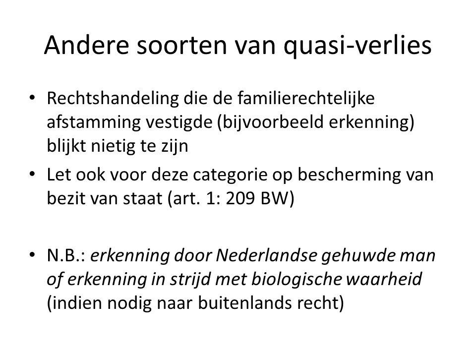 Andere soorten van quasi-verlies Rechtshandeling die de familierechtelijke afstamming vestigde (bijvoorbeeld erkenning) blijkt nietig te zijn Let ook