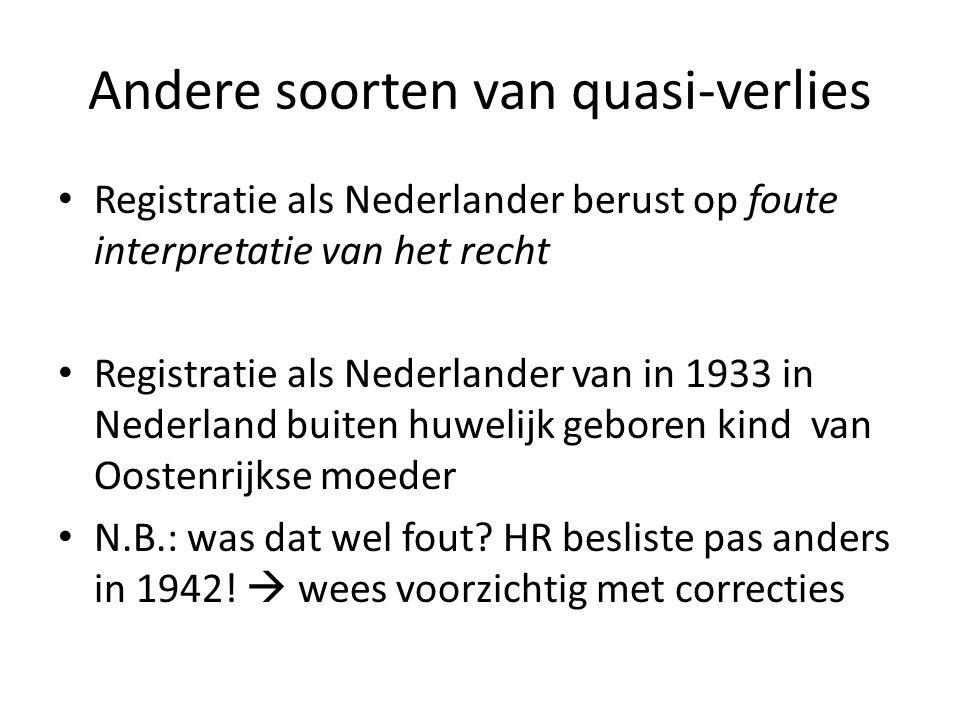 Andere soorten van quasi-verlies Registratie als Nederlander berust op foute interpretatie van het recht Registratie als Nederlander van in 1933 in Ne