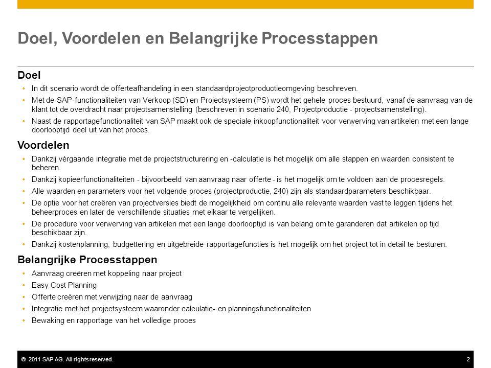©2011 SAP AG. All rights reserved.2 Doel, Voordelen en Belangrijke Processtappen Doel  In dit scenario wordt de offerteafhandeling in een standaardpr
