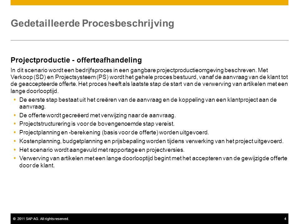 ©2011 SAP AG. All rights reserved.4 Gedetailleerde Procesbeschrijving Projectproductie - offerteafhandeling In dit scenario wordt een bedrijfsproces i