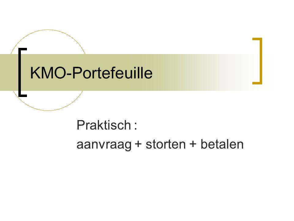 KMO-Portefeuille Praktisch : aanvraag + storten + betalen