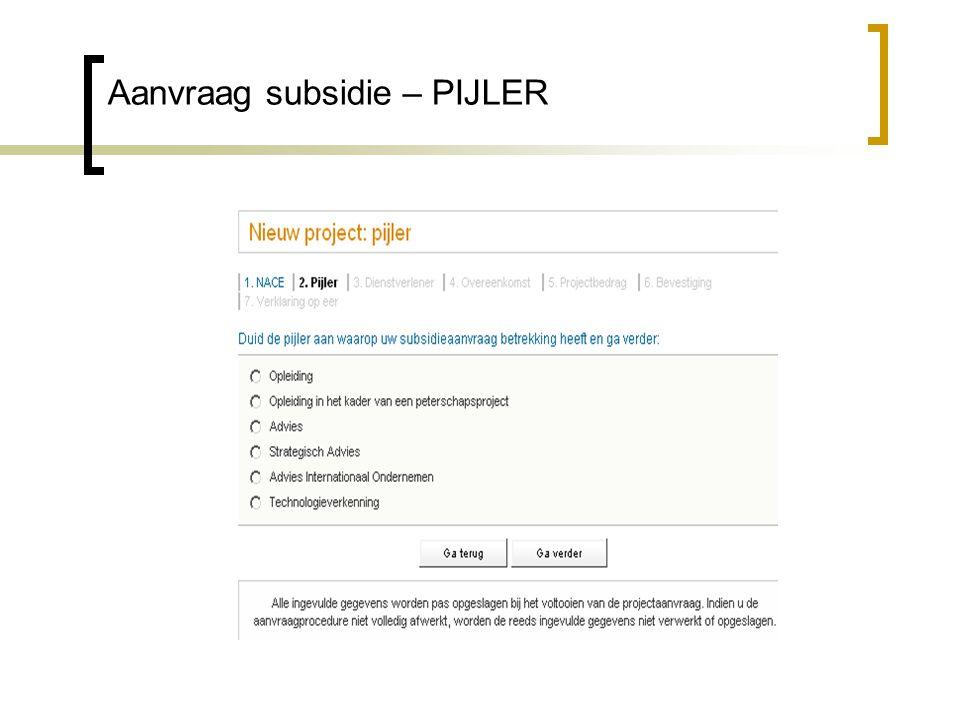 Aanvraag subsidie – PIJLER