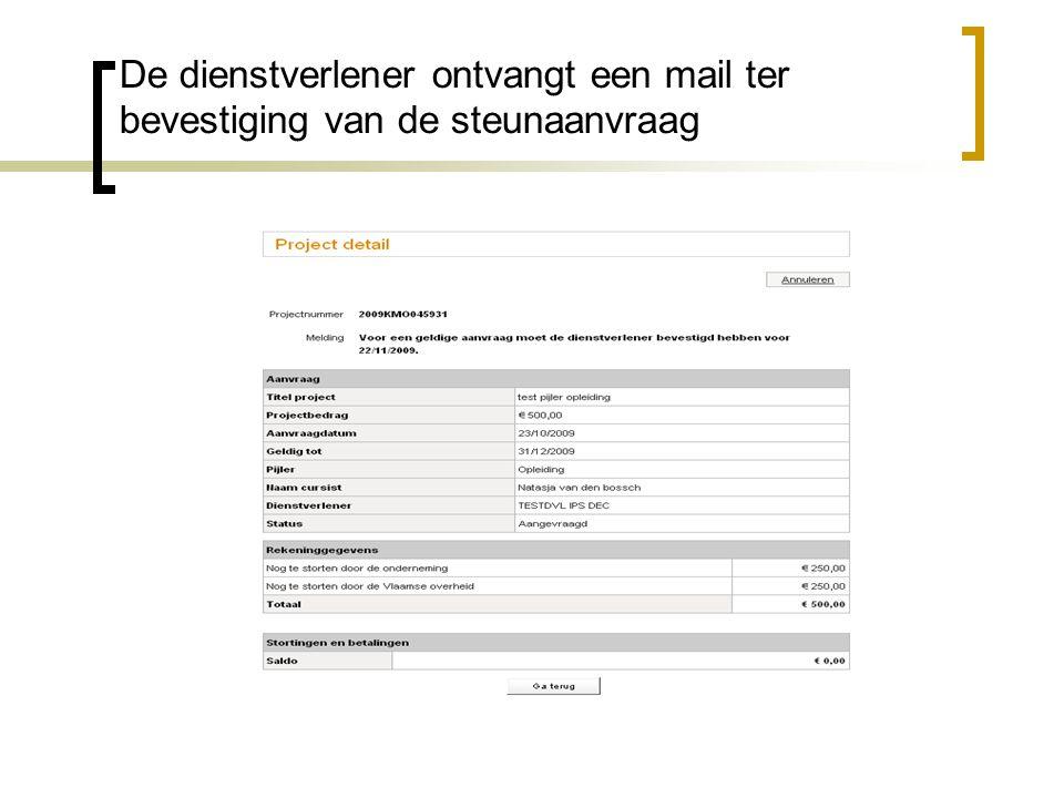 De dienstverlener ontvangt een mail ter bevestiging van de steunaanvraag