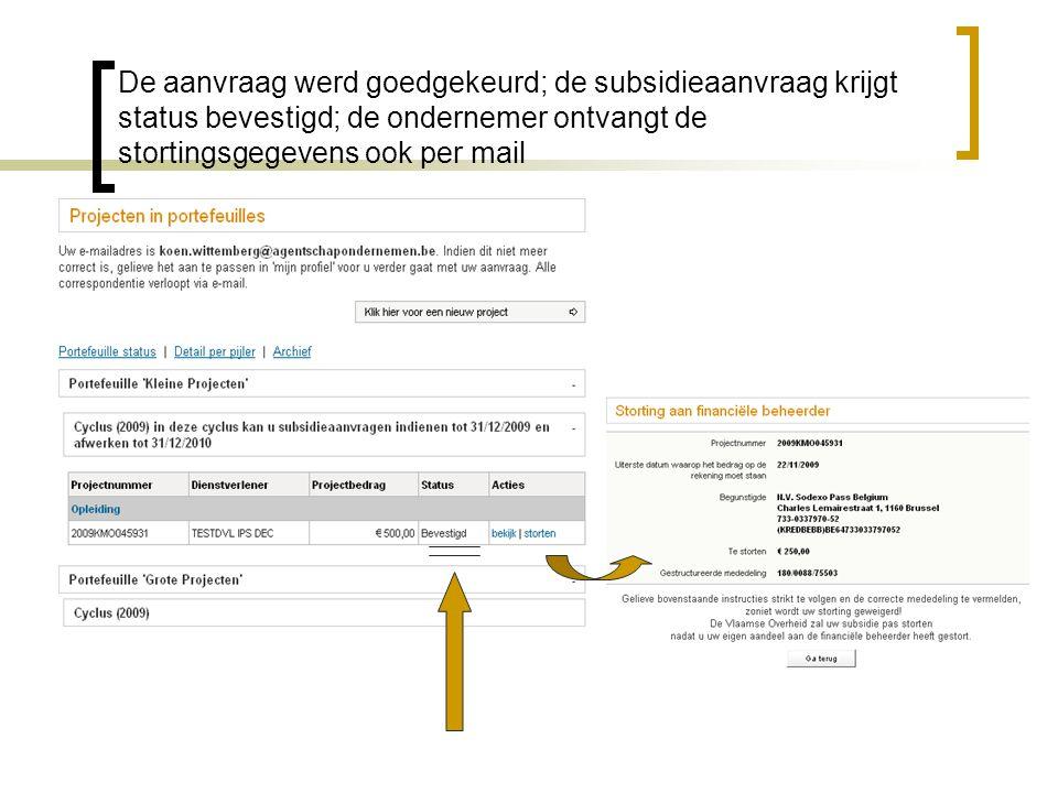 De aanvraag werd goedgekeurd; de subsidieaanvraag krijgt status bevestigd; de ondernemer ontvangt de stortingsgegevens ook per mail