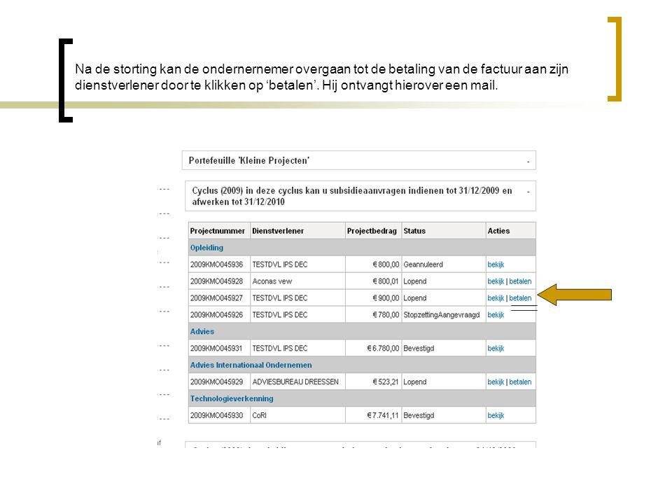 Na de storting kan de ondernernemer overgaan tot de betaling van de factuur aan zijn dienstverlener door te klikken op 'betalen'.