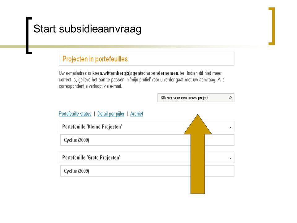 Start subsidieaanvraag