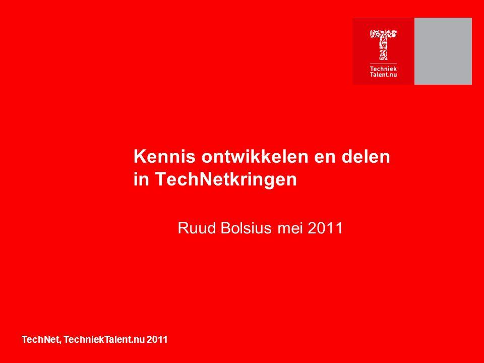 Kennis ontwikkelen en delen in TechNetkringen Ruud Bolsius mei 2011 TechNet, TechniekTalent.nu 2011