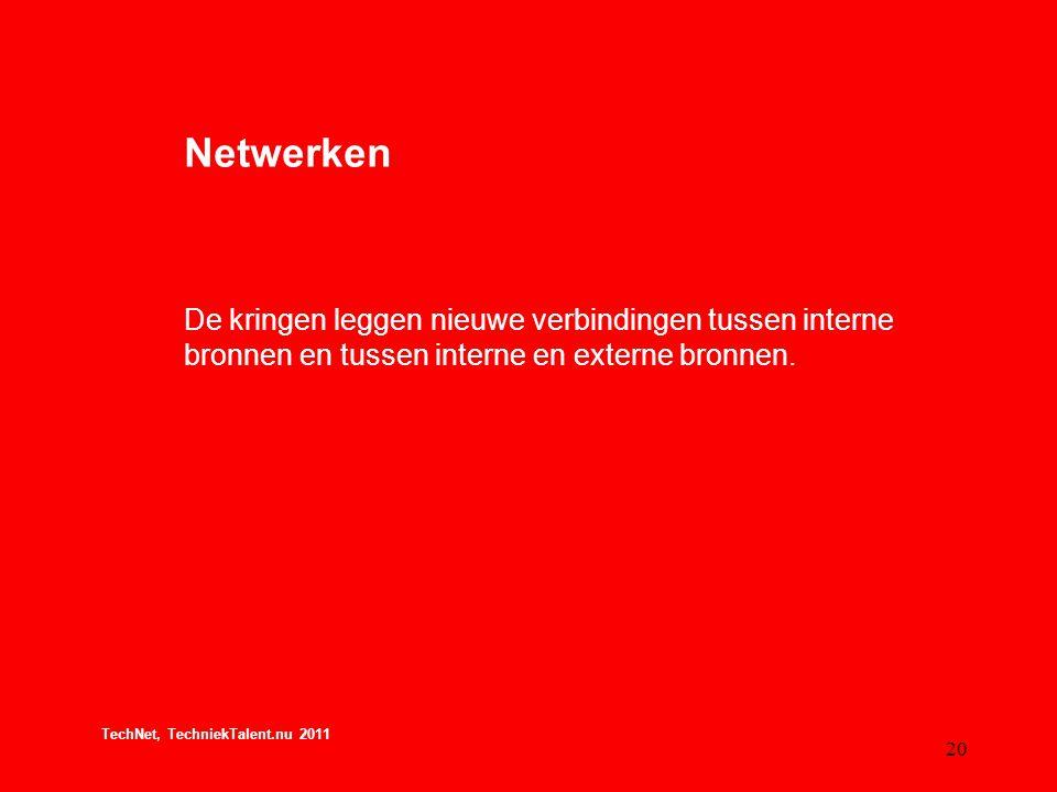 Netwerken De kringen leggen nieuwe verbindingen tussen interne bronnen en tussen interne en externe bronnen.