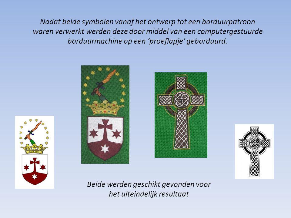 Nadat beide symbolen vanaf het ontwerp tot een borduurpatroon waren verwerkt werden deze door middel van een computergestuurde borduurmachine op een 'proeflapje' geborduurd.