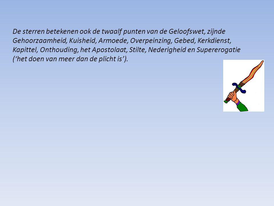 De sterren betekenen ook de twaalf punten van de Geloofswet, zijnde Gehoorzaamheid, Kuisheid, Armoede, Overpeinzing, Gebed, Kerkdienst, Kapittel, Onthouding, het Apostolaat, Stilte, Nederigheid en Supererogatie ('het doen van meer dan de plicht is').