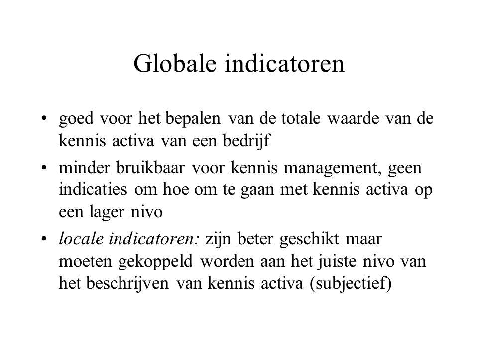 Globale indicatoren goed voor het bepalen van de totale waarde van de kennis activa van een bedrijf minder bruikbaar voor kennis management, geen indicaties om hoe om te gaan met kennis activa op een lager nivo locale indicatoren: zijn beter geschikt maar moeten gekoppeld worden aan het juiste nivo van het beschrijven van kennis activa (subjectief)