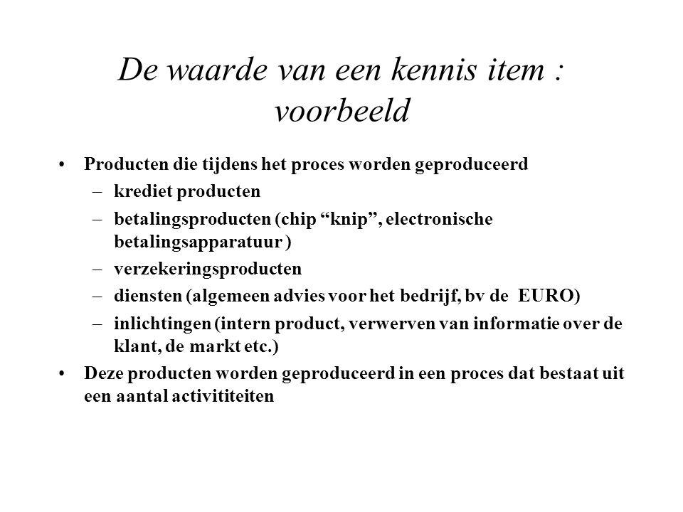 De waarde van een kennis item : voorbeeld Producten die tijdens het proces worden geproduceerd –krediet producten –betalingsproducten (chip knip , electronische betalingsapparatuur ) –verzekeringsproducten –diensten (algemeen advies voor het bedrijf, bv de EURO) –inlichtingen (intern product, verwerven van informatie over de klant, de markt etc.) Deze producten worden geproduceerd in een proces dat bestaat uit een aantal activititeiten