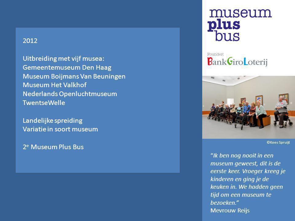 2012 Uitbreiding met vijf musea: Gemeentemuseum Den Haag Museum Boijmans Van Beuningen Museum Het Valkhof Nederlands Openluchtmuseum TwentseWelle Landelijke spreiding Variatie in soort museum 2 e Museum Plus Bus Ik ben nog nooit in een museum geweest, dit is de eerste keer.