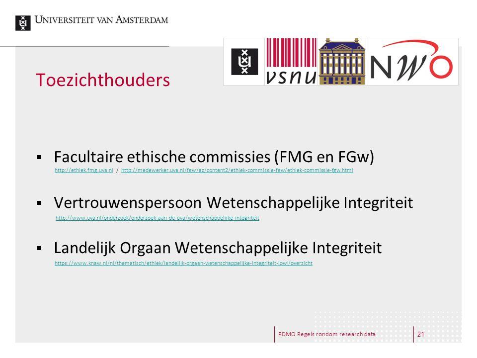 RDMO Regels rondom research data Toezichthouders  Facultaire ethische commissies (FMG en FGw)  Vertrouwenspersoon Wetenschappelijke Integriteit  La