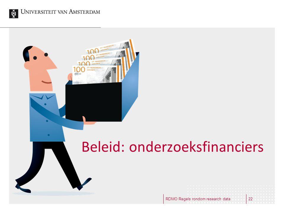 Beleid: onderzoeksfinanciers RDMO Regels rondom research data22