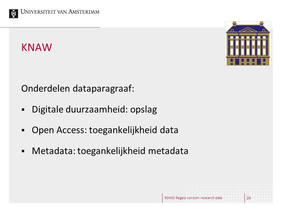 RDMO Regels rondom research data KNAW Onderdelen dataparagraaf:  Digitale duurzaamheid: opslag  Open Access: toegankelijkheid data  Metadata: toega