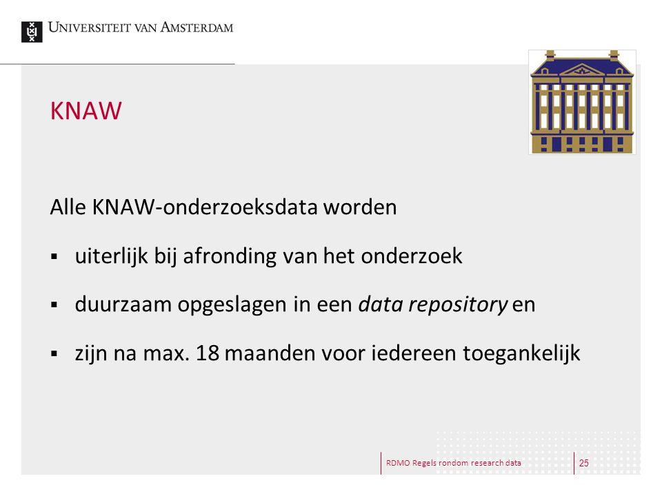 RDMO Regels rondom research data KNAW Alle KNAW-onderzoeksdata worden  uiterlijk bij afronding van het onderzoek  duurzaam opgeslagen in een data re