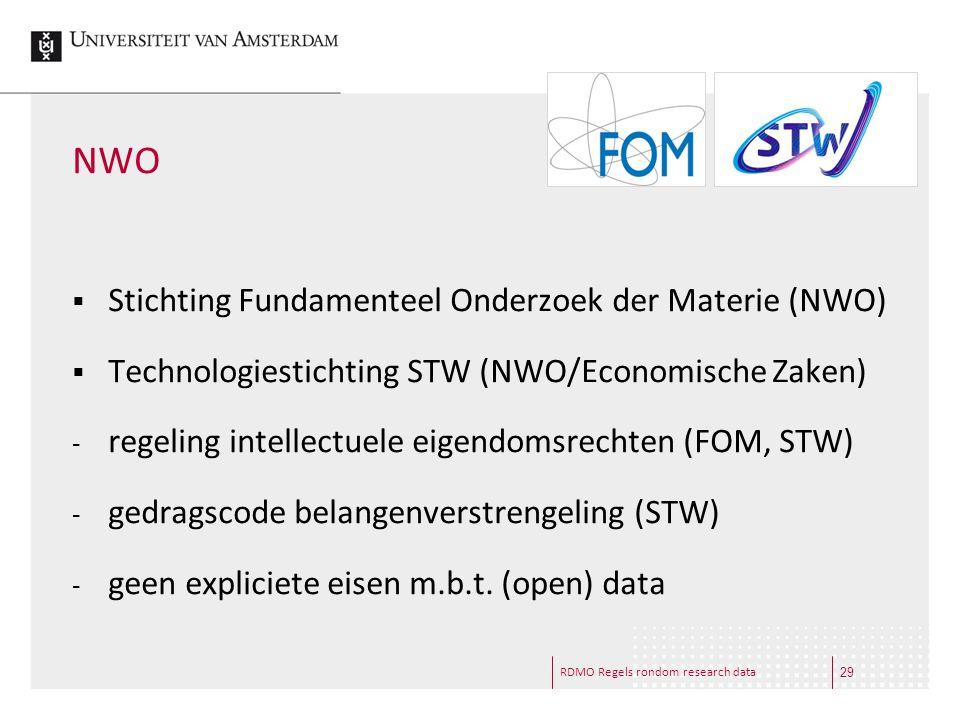 RDMO Regels rondom research data NWO  Stichting Fundamenteel Onderzoek der Materie (NWO)  Technologiestichting STW (NWO/Economische Zaken) - regelin